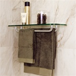 Glass Rectangle Corner Shelf w Towel Racks