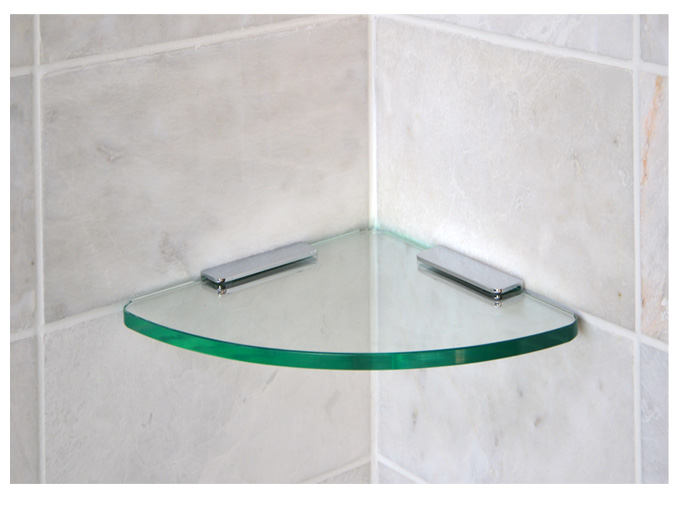 curved corner shelf with brackets rh glasscornershelvesstore com glass corner shelf for shower Bathroom Corner Glass Shelf