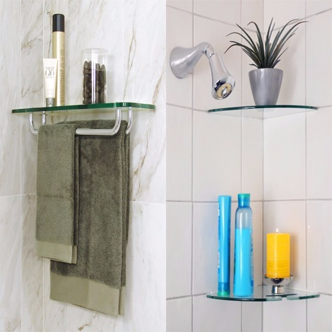 Glass bathroom shelves floating shelves for bathroom - Bathroom glass corner shelves shower ...