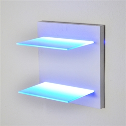 "Lighted Shelving on a hand-built turn key wooden frame. Created to order, quality millwork. (2) 18"" wide, 8"" deep even illuminated glass LED shelves."