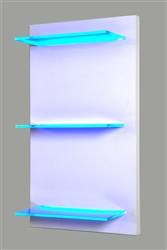 "Lighted Shelving on a hand-built turn key wooden frame. Created to order, quality mill work. (3) 18"" wide, 8"" deep even illuminated glass LED shelves."