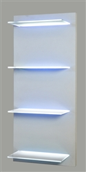 "Lighted Shelving on a hand-built turn key wooden frame. Created to order, quality mill work. (4) 18"" wide, 8"" deep even illuminated glass LED shelves."
