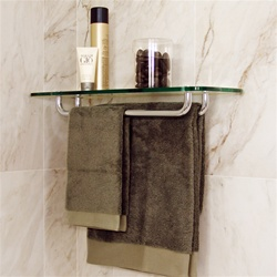 Glass Rectangle Corner Shelf with 2 Towel Racks
